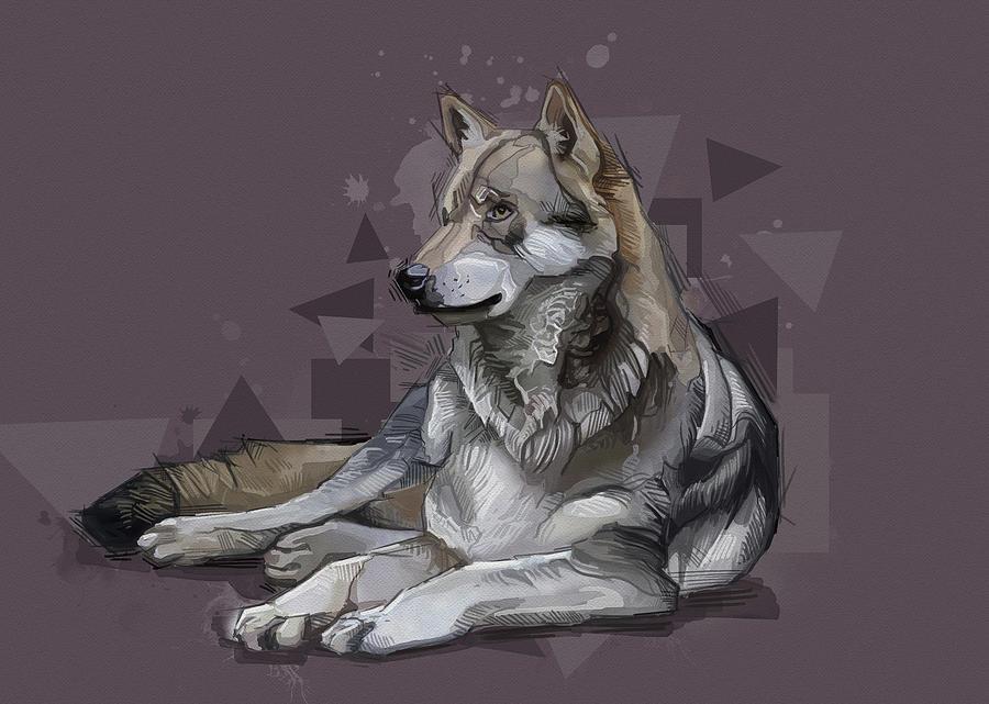 Resting Wolf Vintage V2 Digital Art