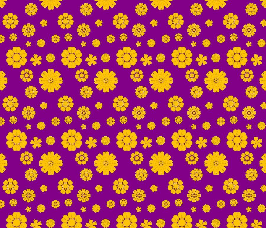 Retro Background With Golden Flowers Over Violet Digital Art