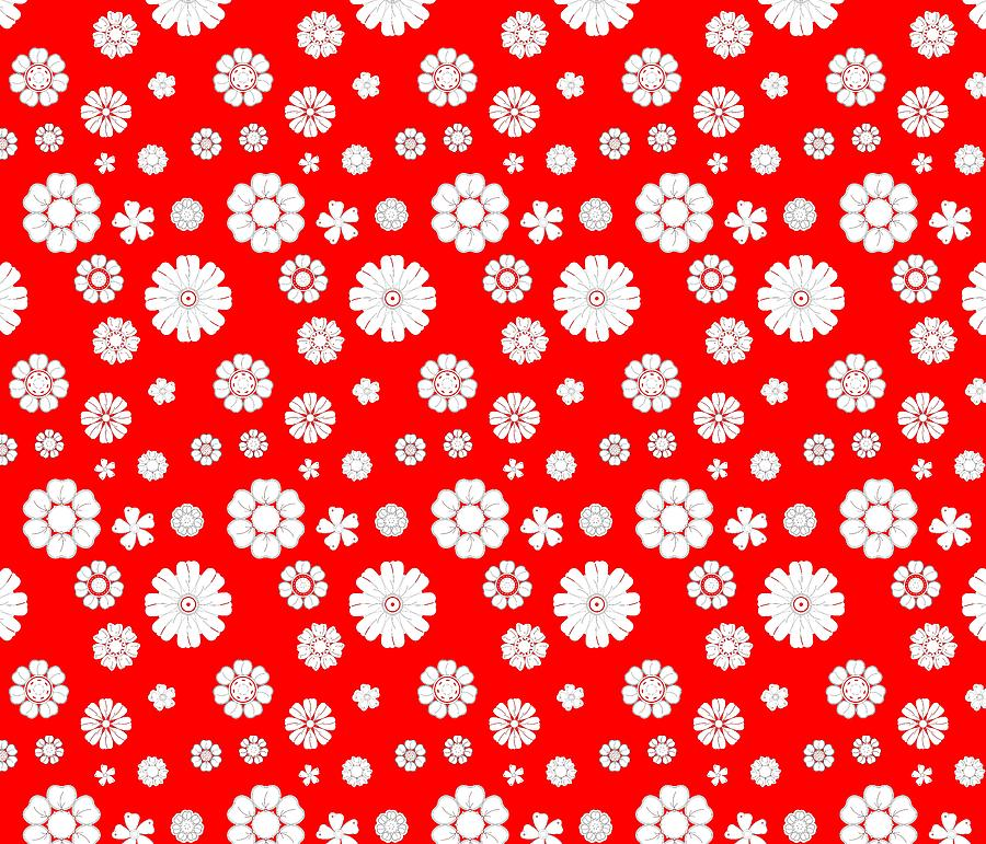 Retro Background With White Flowers Over Red Digital Art