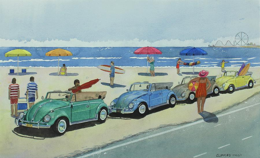 Beetle Painting - Retro Beetle Beach by Cory Clifford