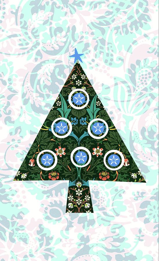 Retro Christmas Tree On Vintage Aqua And Pink Digital Art