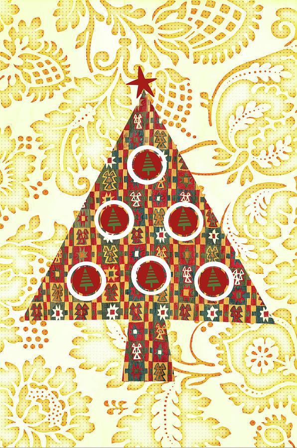 Retro Christmas Tree On Vintage Gold Digital Art