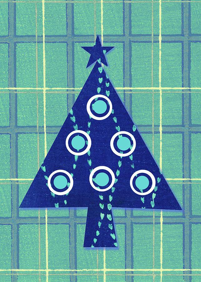 Retro Christmas Tree On Vintage Plaid Digital Art