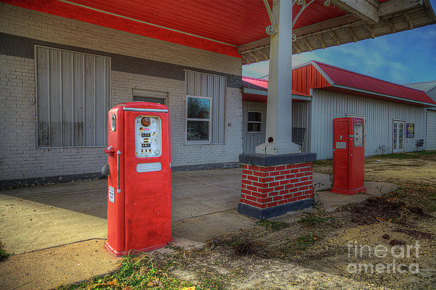 Travel Photograph - Retro Gas Station by Larry Braun