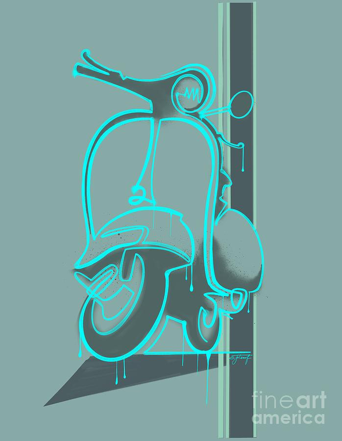 retro graffiti vespa scooter by Sassan Filsoof