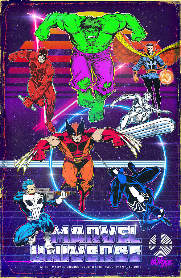 Marvel Comics Digital Art - Retro Marvel Universe by Joseph Burke