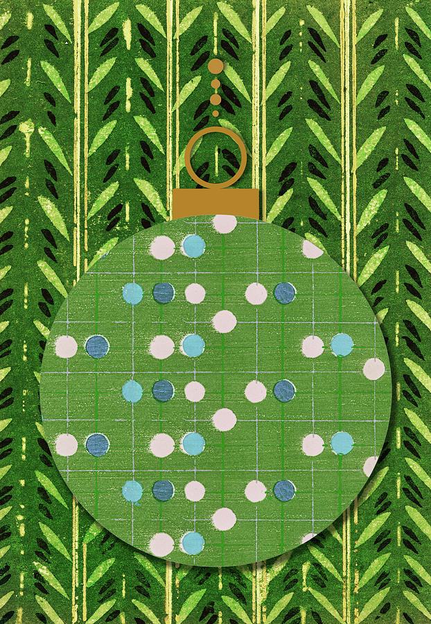 Retro Polka Dot Plaid Christmas Ornament Digital Art