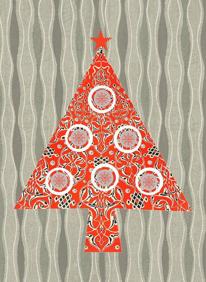 Retro Red Christmas Tree On Vintage Gray Digital Art