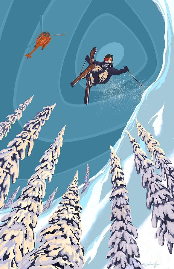 Retro Ski Jumper Heli Ski  by Sassan Filsoof