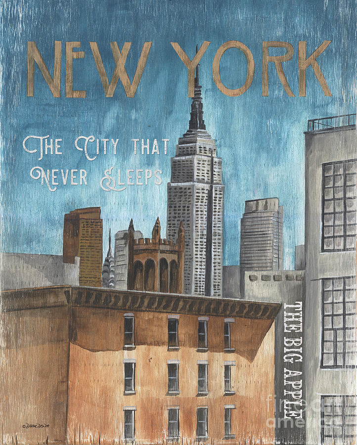 Retro Travel Poster New York Painting
