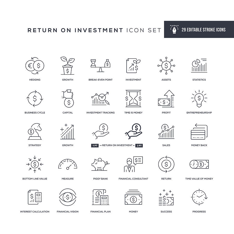 Return on Investment Editable Stroke Line Icons Drawing by Enis Aksoy