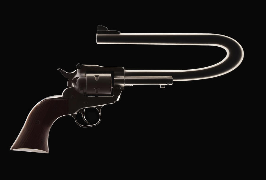 Revolver with a bent barrel Photograph by Mike Kemp