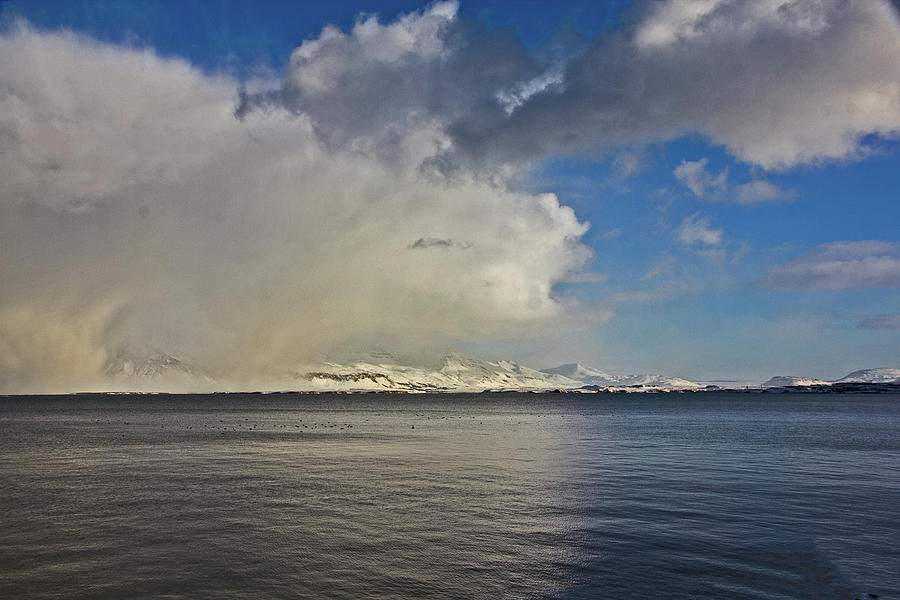 Reykjavik Iceland Bay Black And Blue Water Clouds Mountains Ice Snow Big Sky 2018 2 3162020 2234 Photograph by David Frederick