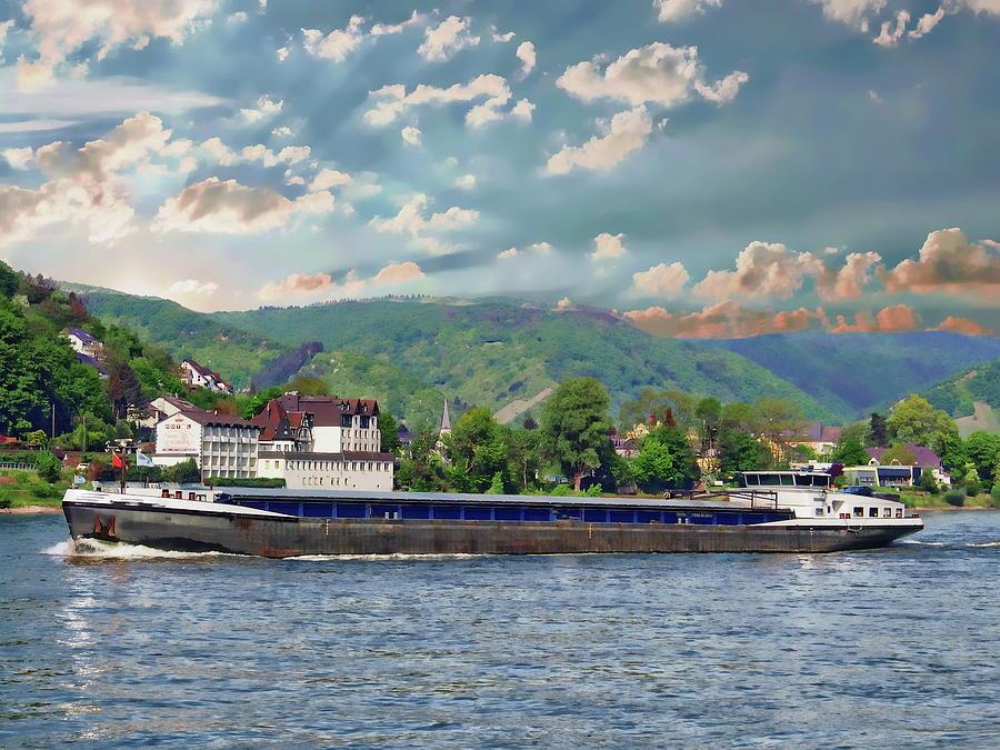 Rhine River Barge by Anthony Dezenzio