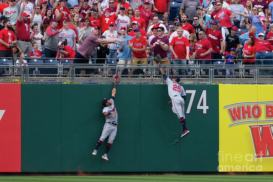 Rhys Hoskins, Byron Buxton, And Eddie Rosario Photograph by Mitchell Leff