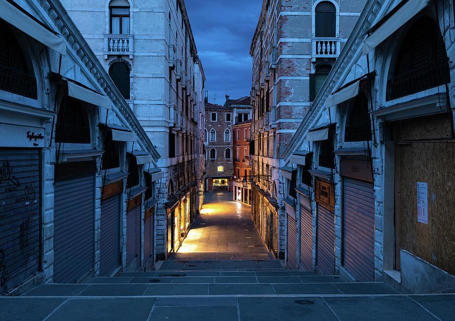 Venice Photograph - Rialto Bridge Backstage at Dawn by Marion Rockstroh-Kruft