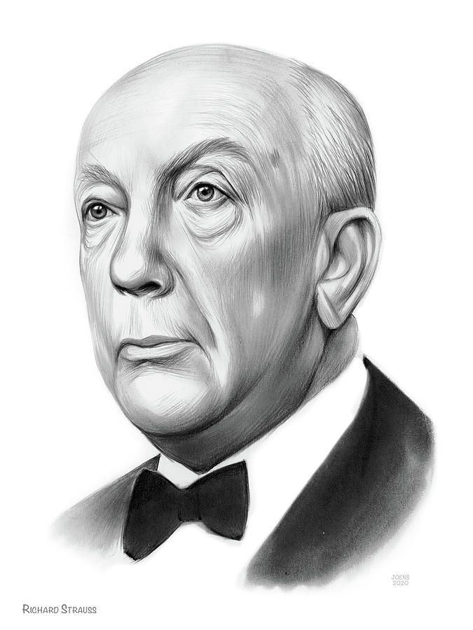 Richard Strauss Drawing - Richard Strauss - Pencil by Greg Joens
