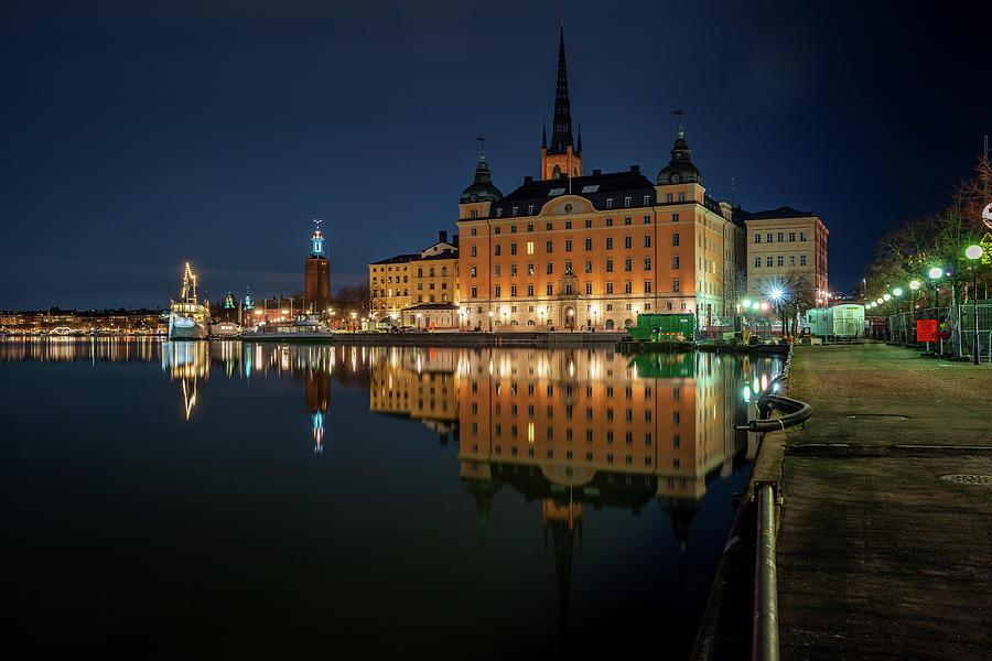 Stockholm Photograph - Riddarholmen blue hour reflection by Dejan Kostic