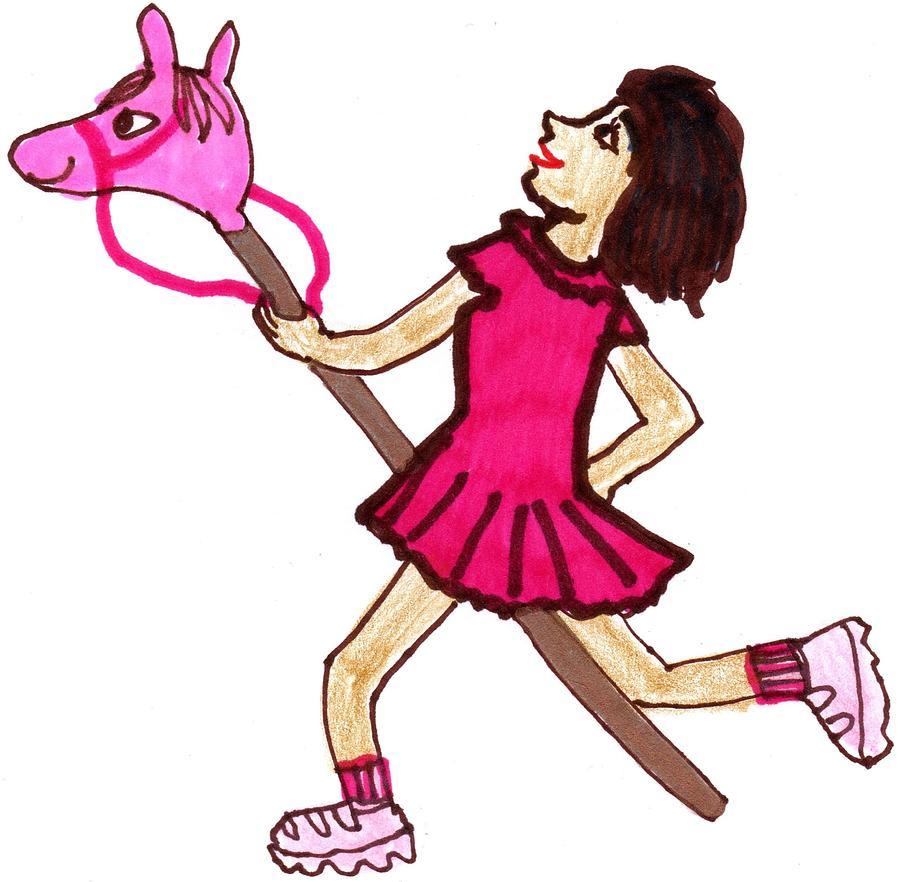 Nursery Rhyme Drawing - Ride A Toy Horse by Sushila Burgess