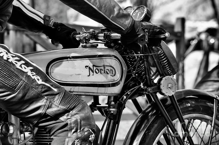 Vintage Photograph - Riding a Vintage Norton by Tim Gainey