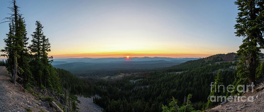 Rim Drive Sunset Panorama, Crater Lake NP by Michael Ver Sprill
