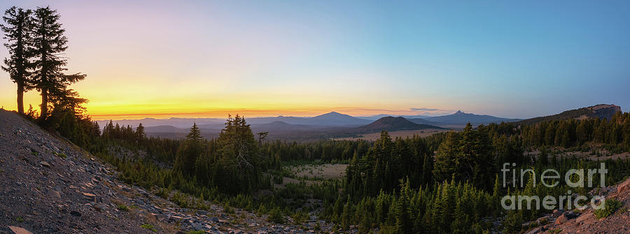 Crater Lake Photograph - Rim Drive Sunset Panorama by Michael Ver Sprill