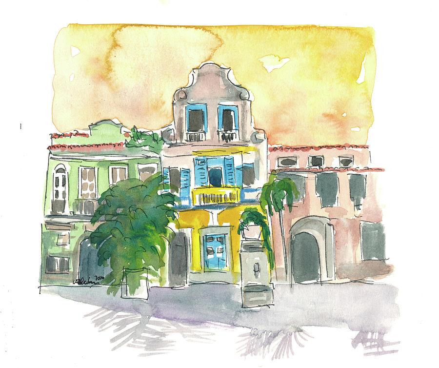 Rio Painting - Rio De Janeiro Largo Do Boticario Old Town Houses by M Bleichner