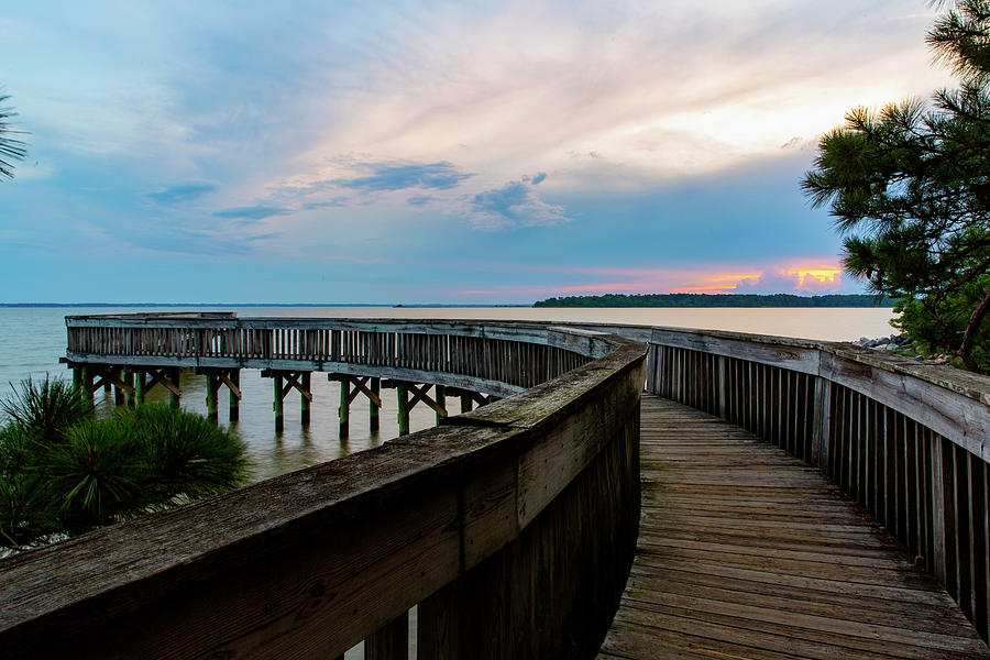 Riverview Farm Pier At Sunset Photograph