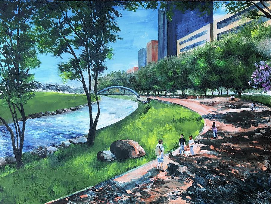 River Painting - Riverwalk  by Lauren Luna