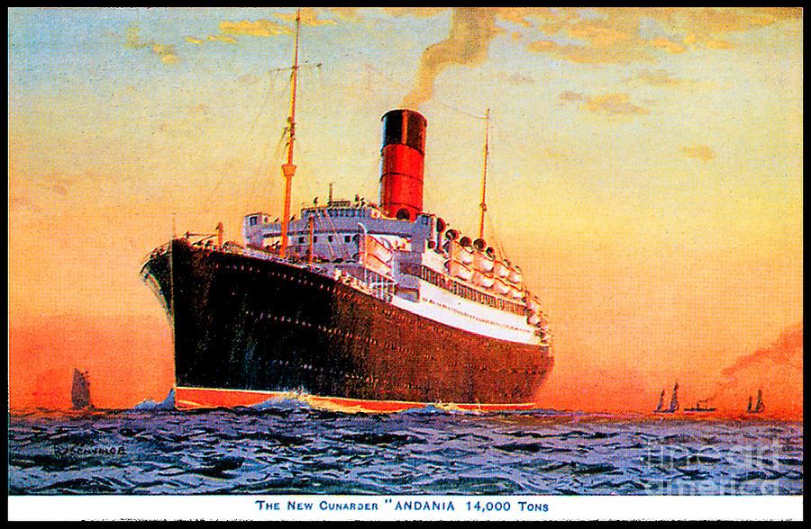 Rms Andania Cunard Lines Travel Postcard Painting