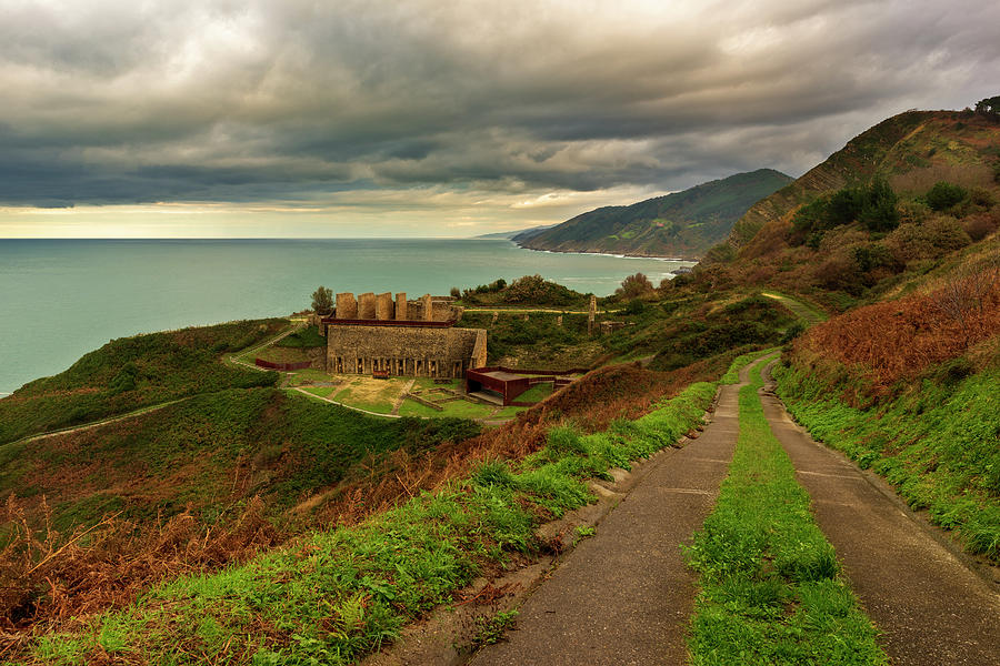 Road along the coast of Zarautz at sunset by Vicen Photography