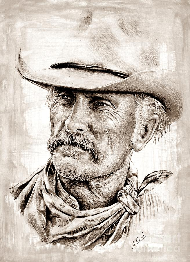 Robert Duval The Western Collection Sepia Splash Drawing