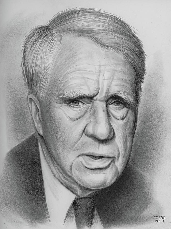Robert Frost Drawing - Robert Frost - Pencil by Greg Joens