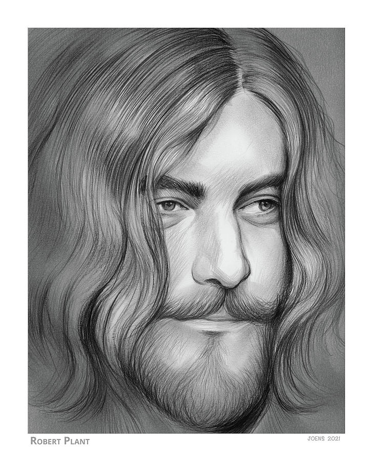 Robert Plant Drawing - Robert Plant - Pencil by Greg Joens