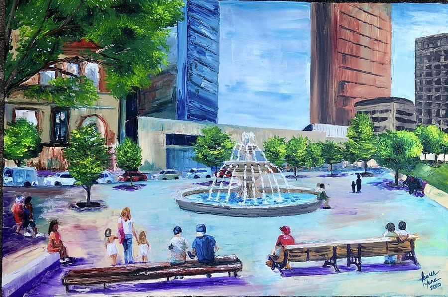 Park Painting - Roberts Park at Lunchtime by Lauren Luna