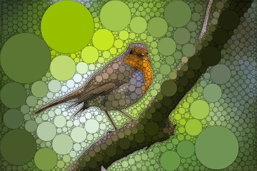 Green Digital Art - Robin in Circular Nature by Dahl Winters