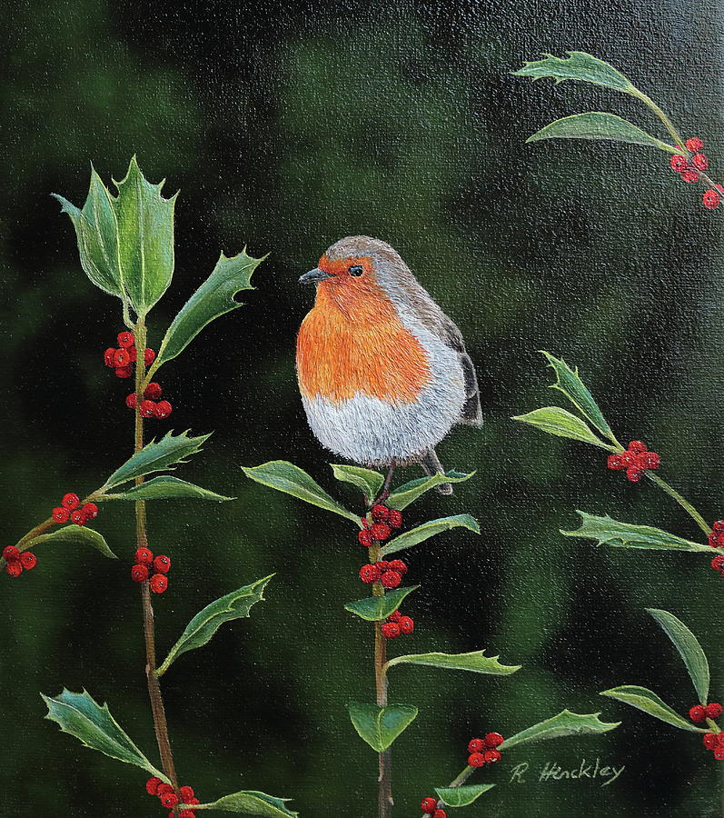 Bird Painting - Robin in wild holly by Russell Hinckley