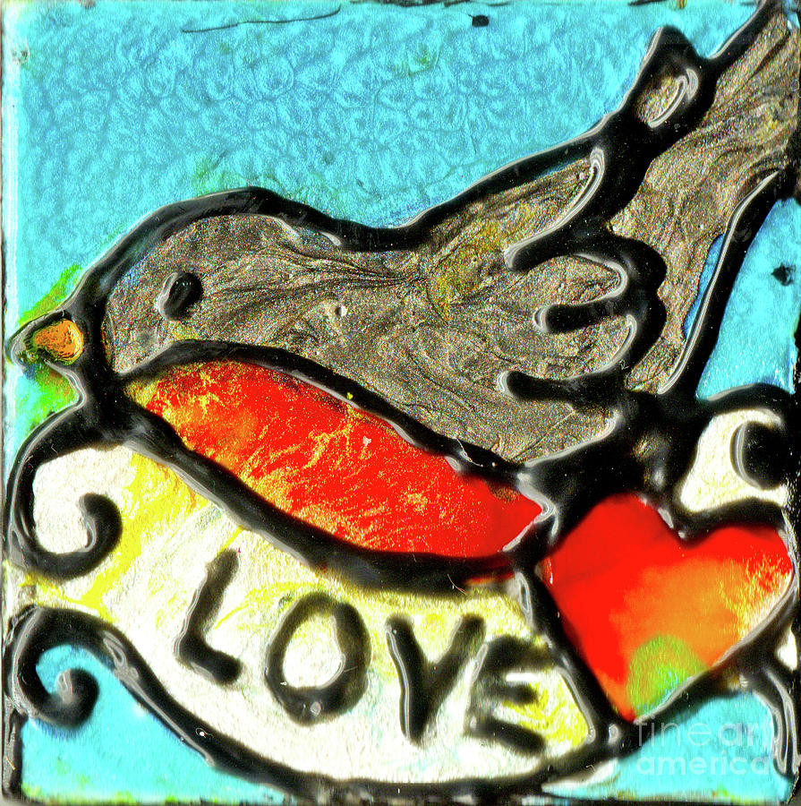 Robin With Red Heart by Genevieve Esson