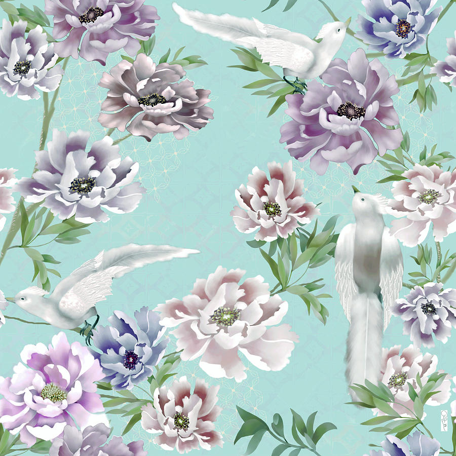 Robins Egg Blue Chinoiserie Peonies And Royal Birds Digital Art