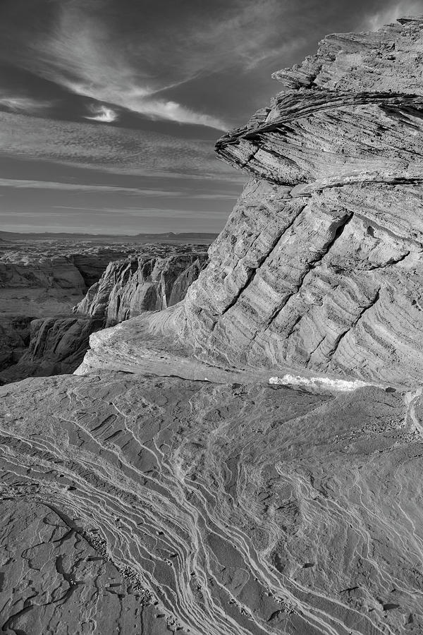 Horseshoe Bend Photograph - Rock over Horseshoe Bend in Page, AZ by Mark Langford