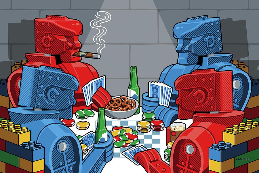 Rockem Sockem Robots Digital Art - Rockem Sockem poker night by Ron Magnes