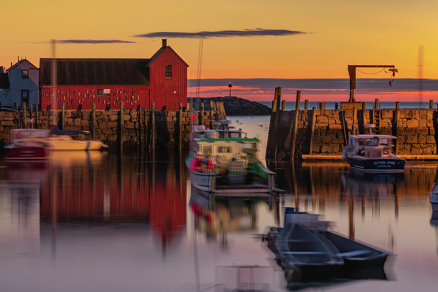 Motif 1 Photograph - Rockport Harbor And Motif #1 At Sunrise by Gregory Ballos