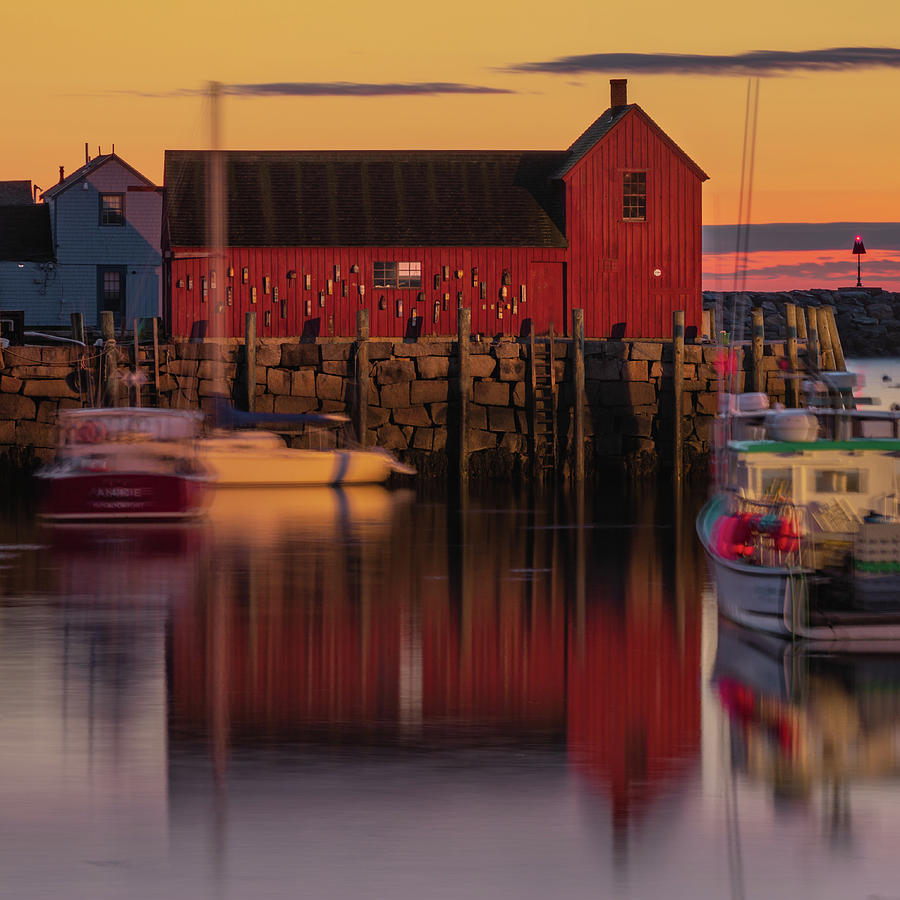 Motif 1 Photograph - Rockport Massachusetts Motif #1 Reflections In The Harbor 1x1 by Gregory Ballos