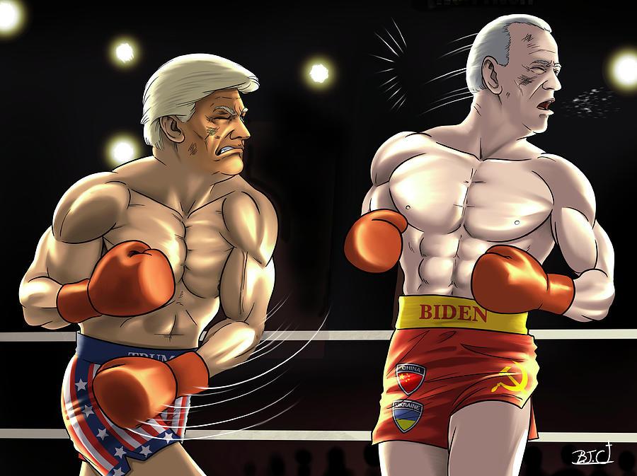 Trump Digital Art - Rocky Balboa Donald Trump vs. Ivan Drago Joe Biden Election 2020 by GalleryHope Commission