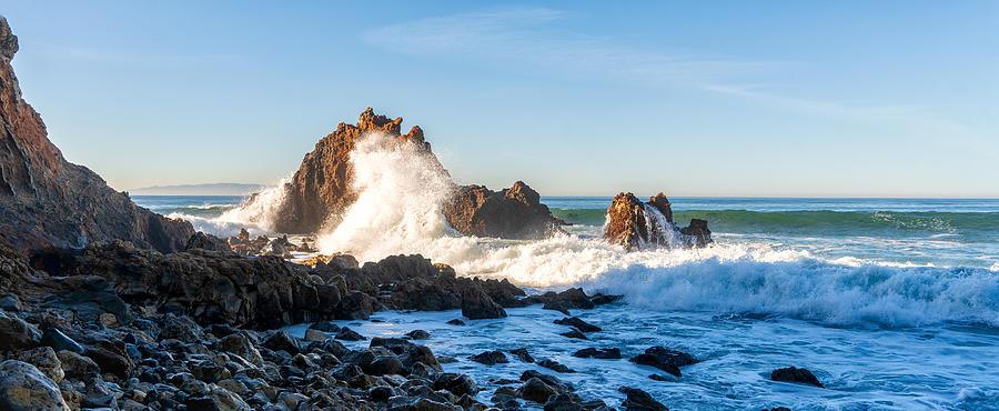 Horizontal Photograph - Rocky Waves Palos Verdes by Michael Hope