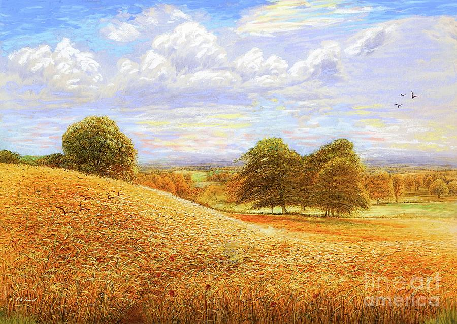 Landscape Painting - Rolling Hills of Amber Gold by Jane Small
