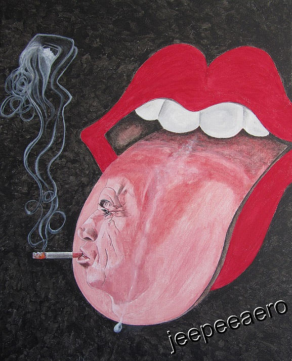 Rolling Stones Painting - Rolling Stones Logo by Jeepee Aero