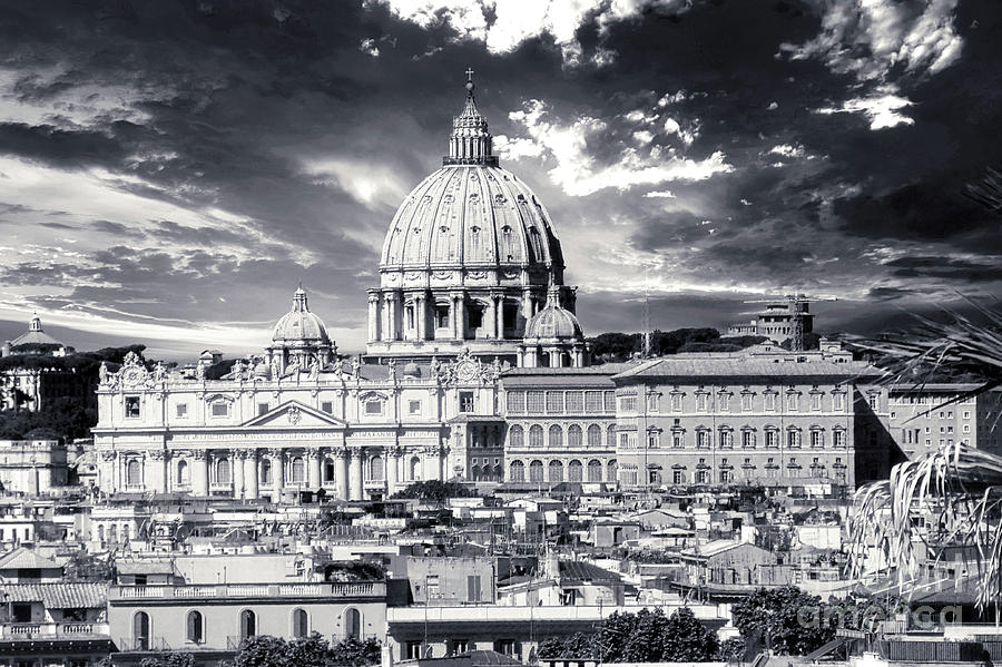 St. Peters Cathedral Photograph - Roma and Vatican BW - St. Peters Basilica Panorama by Stefano Senise