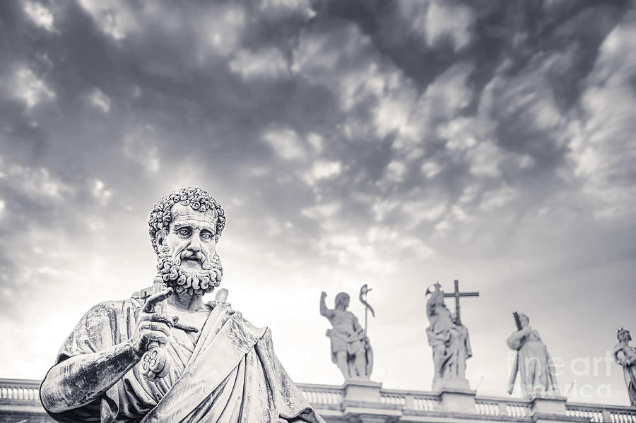 Vatican City Photograph - Roma and Vatican BW - St. Peters Statue by Stefano Senise