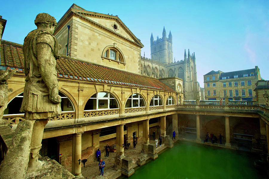 Roman Baths With The Abbey In The Background, Bath, Somerset, England. Photograph